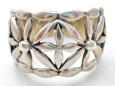 Sterling Silver Flower Ring Wide Band Size 7 Vintage 925 Floral Jewelry | Jewelry & Watches, Vintage & Antique Jewelry, Fine | eBay!