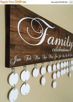 ON SALE Handmade Family Birthday Board - Family Celebrations Board - Family Birthday Calendar - Celebration Board - Wall Hanging by InfiniteDesigns4u on Etsy https://www.etsy.com/listing/270149809/on-sale-handmade-family-birthday-board