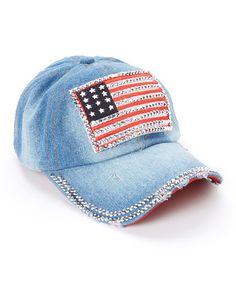 1ec8dd45ef5 Blue Bejeweled Flag Denim Baseball Cap  zulilyfinds Denim Baseball. Denim  Baseball Cap · Baseball Hats ...