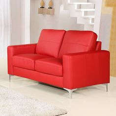 Small red leather sofas for vibrant small living area in 2017 Small Space Living, Living Area, Comfy Sofa, Red Sofa, Leather Sofas, Couches, Red Leather, Love Seat, Chairs