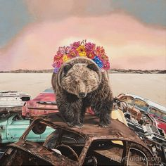 """Vestige by artist, Amy Guidry; Acrylic on canvas; 12"""" x 12""""  #art #contemporaryart #nature #bear #grizzly #cars #painting #surreal #surrealist #surrealism #landscape #ecology #conservation #flowers #animals #desert"""