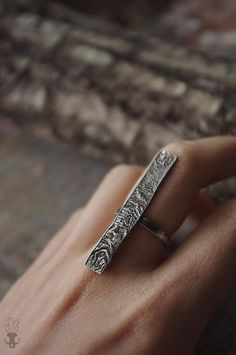 Sterling silver ring textured oxidized wood industrial nugoth