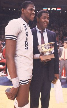 Patrick Ewing and Coach John Thompson Basketball Legends, Basketball Players, Georgetown Hoyas, Patrick Ewing, George Santayana, Catholic University, Georgetown University, Nba Stars, Mystery Of History