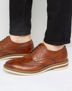 1309db58c13e Shop Base London Apsley Leather Oxford Brogue Shoes at ASOS.