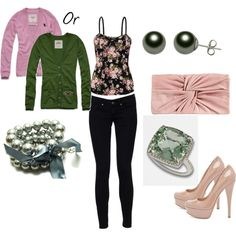 i like the green cardigan with this outfit