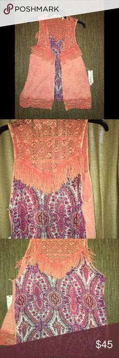 Bke gimmicks vest New bke gimmicks vest. Color is burnt orange with Paisley print on the back. Cute fringe details. Size xl. No trades! BKE Jackets & Coats Vests