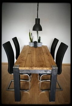 Similar Items like Dining Table Solid Wood Table Oak Industri … Welded Furniture, Industrial Design Furniture, Steel Furniture, Woodworking Furniture, Unique Furniture, Rustic Furniture, Table Furniture, Furniture Design, Diy Dining Table