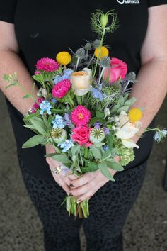 Bright wild flower bridesmaids bouquet - Rustic wedding flowers made by Amy's Flowers