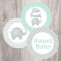 Elephant Centerpieces Printable Mint and Grey Elephant Baby