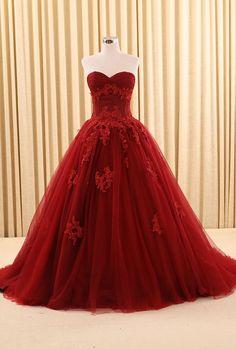 Vintage Burgundy Prom Formal Wedding Gowns Sweetheart Applique #BridalDresses #WeddingGowns #Wedding #WeddingDresses