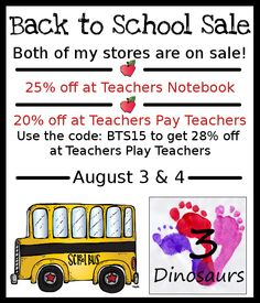 Back to School Sale! August 3rd & 4th - 3Dinosaurs.com