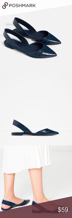 ZARA Blue Flat Sandals Brand new with tags, never worn. Size 39 / US 8. Blue color. Available in pink. Sold out everywhere. Cheaper on Ⓜ️, just ask :) Zara Shoes Flats & Loafers