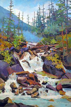 Canadian painter Randy Hayashi is a featured artist at the mountain galleries at… Der kanadische Maler Randy Hayashi ist ein bekannter Künstler in den Berggalerien des Fairmont. Watercolor Landscape, Abstract Landscape, Landscape Paintings, Watercolor Art, Canadian Painters, Canadian Artists, Guache, Environment Concept Art, Gouache Painting