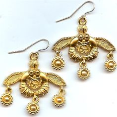 Greek Minoan Bees from Crete Wire Earrings | Museum Jewelry Gifts | bees with honey museum reproductions, Minos bee ancient Greek Crete Minoans old pa
