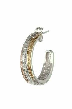 Tri-Tone Plated Bronze Diamond Accent C-Hoop Earrings Diamond Earrings, Hoop Earrings, Makeup Tutorial Eyeliner, Clarity, Silver Plate, Plating, Diamonds, Bronze, Stripes