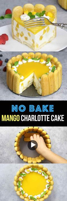 No Bake Mango Charlotte Cake – the most beautiful and unbelievably delicious mango cheesecake. All you need is some simple ingredients: mango juice, ladyfingers, cream cheese, sugar, whipped cream…More Make Ahead Desserts, No Bake Desserts, Easy Desserts, Delicious Desserts, Mango Dessert Recipes, Baking Desserts, Mango Cheesecake, Cheesecake Recipes, Charlotte Cake