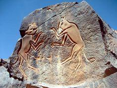 Petroglyphs from Wadi Markhandoush, Lybia, 10,000 BC
