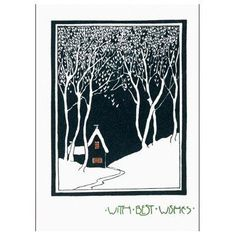 V&A Christmas Cards - House in the Snow (Pack of 10, Large Rectangle)||EVAEX