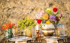 Style an outdoor bohemian gathering with a laid back atmosphere...