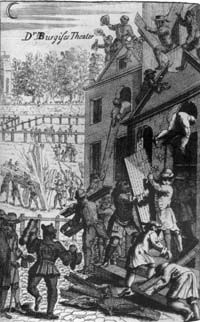 Daniel Burgess's Presbyterian meeting-house in Lincoln's Inn Fields, London, is wrecked by the mob in the Sacheverell riots of 1710.The Sacheverell riots were a series of outbreaks of public disorder, which spread across England during the spring, summer and autumn of 1710 in which supporters of the Tories attacked Dissenters', particularly Presbyterians' homes and meeting-houses, whose congregations tended to support the Whigs.