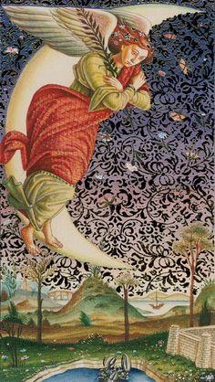 """Der Mond de Maan"" (2007), Based on Artwork by Sandro Botticelli, Print with Gold, Golden Botticelli Tarot, ISBN 978-888395700-0, Golden Botticelli Tarot, Lo Scarabeo, Llewellyn Publications, Created by: Atanas A. Atanassov. Italy. #angels     Artist Biography: http://www.sandrobotticelli.net/ Creator Link: http://www.loscarabeo.com/lang-en/tarocchi-artistici/80-i-tarocchi-dorati-di-botticelli.html"