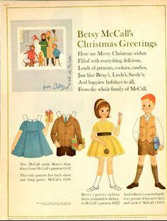 c h r i s t m a s · g r e e t i n g s | Betsy McCall Vintage December 1962 Magazine Paper Doll