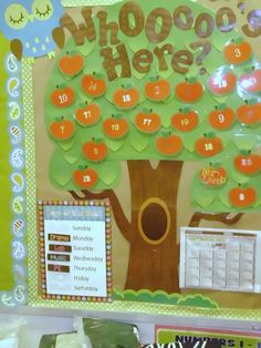 "Attendance board - Script student names or numbers onto the cutouts and attach them to the board with Velcro dots so that they can easily move them from the ""apple basket"" to the tree.  When the students arrive, they move their apple to the tree.  Any student who is still in the basket after the bell is either tardy or absent."