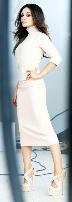Who made Mila Kunis' white turtleneck dress and platform sandals? Dress and shoes – Christian Dior