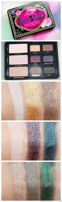 Too Faced | Rock N Roll: Rock Candy Eye Shadow Collection and Swatches- Release your inner rock star with their palette of nine matte to metallic, edgy shades that will guarantee you a backstage pass. these are really nice, accurate swatches that look pretty identical to how the eyeshadows would look on your eyes.