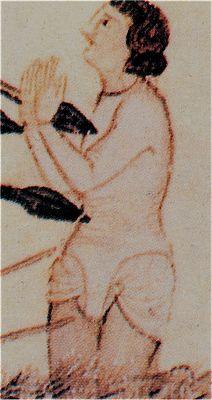 Roba interior,Hacia 1280-85. Cantigas de Santa María de Alfonso X el Sabio, Biblioteca del Monasterio de San Lorenzo de El Escorial, Madrid (detalle)