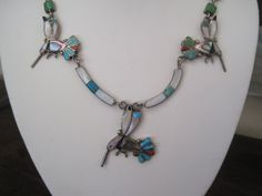 Vintage Necklace Zuni Hummingbird Sterling Silver Inlay Turquoise Coral MOP Abalone Jet on Etsy, $225.00
