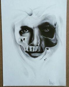 Half skull half man tattoo design