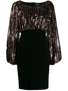 Black sequin top dress from Just Cavalli featuring a round neck, a fitted skirt, a short length, long gathered sleeves and a short length. Dressy Dresses, Stylish Dresses, Stylish Outfits, Dress Outfits, Short Dresses, Modest Fashion, Girl Fashion, Fashion Dresses, 80s Fashion