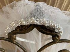 Excited to share the latest addition to my #etsy shop: Pearl and Crystal Headpiece with Veil #firstcommunion