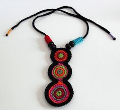 ethnic crochet | ETHNIC (01) - Handknit Crochet Necklace | Flickr - Photo Sharing! Form Crochet, Knit Crochet, Crochet Patterns, Crochet Geek, Crochet Potholders, Textile Jewelry, Fabric Jewelry, Jewelry Art, Jewelry Ideas