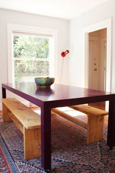 purple parsons table on casters