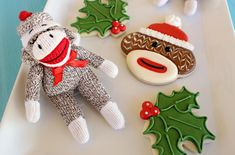 Sock Monkey Cookies from Sweet Sugarbelle Santa Cookies, Cute Cookies, Christmas Cookies, Christmas Crafts, Christmas Sock, Christmas Baking, Ninja Turtle Pizza, Ninja Turtles, Biscuits