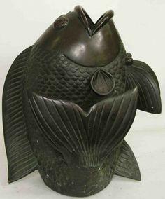 Bronze Carp Vase SOLD: Au Fil de l'Eau Antiques