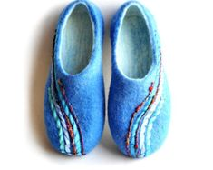 Felted slippers - women - handmade -blue -  felted house shoes