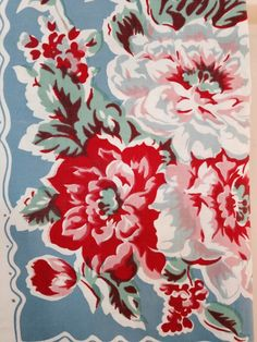 Floral print vintage tablecloth