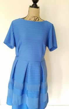 Taylor Dresses Sky Blue Textured Fit And Flare Dress With Mesh Inserts 18W #Taylor #FitAndFlare #Casual