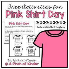 Does your school celebrate Pink Shirt Day? Here is a free resource to help you make teaching about Pink Shirt Day a breeze! This resource includes: - 1 page history of how pink shirt day started to… Anti Bullying Activities, Kindness Activities, Free Activities, Kindergarten Activities, Anti Bullying Lessons, Friendship Activities, Preschool, Pink Day, Bullying Prevention