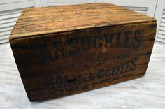 Antique Wood Arbuckles' Coffee Crate available from Old Time Pickers - Wood Crates Shipping Wood Crate Table, Crate Bar, Crate Desk, Wood Crates With Wheels, Old Crates, Coffee Shop Furniture, Crate Furniture, Old Boxes, Antique Boxes