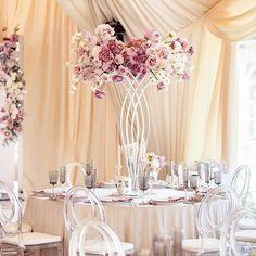 Как вам такие пышные композиции? 1,5 м в высоту и 1м в диаметре. Но за счет фигурной стойки они смотрятся очень нежно и воздушно! К слову, на столы каждую такую стойку с цветами поднимали 2-е мужчин😄 - Организатор @choicewedding Декор и флористика @love_letter_wedding Фото @elk_art_w Wedding Draping, Romantic Wedding Decor, Home Wedding, Elegant Wedding, Wedding Flowers, Wedding Table Settings, Wedding Table Centerpieces, Reception Decorations, Wedding Designs