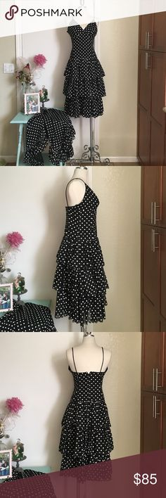 Take 50% off Vintage polka dot dress 80/90's Flirty n Fun ! Perfect cond spaghetti strap ruffle dress and shawl. Looks like never worn. Fabric is soft but has just enough stuff to keep the ruffles flowey. W28 B32 L42 . Tag reads sz 8 bit closer to 6 and Dot Dress, Ruffle Dress, Ruffles, 50s Vintage, Vintage Dresses, 8 Bit, Closer, Shawl, Spaghetti