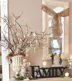 winter white/tan decor