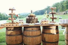 dessert bar from old barrels | Whitebox Photo