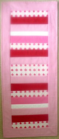 Valentine Table Runner, Pink Red White Quilted Topper, Handmade patchwork dining decor, candy bar wedding decorations, modern kitchen quilt by SewEverAfter on Etsy