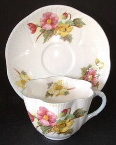 Shelley China Begonia Dainty Cup and Saucer English Bone China Blue Trim