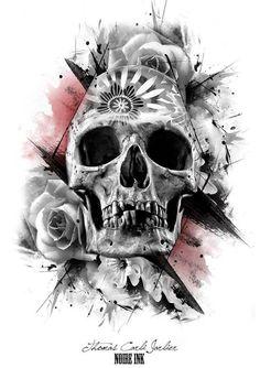 Skull Rose w interesting background. Skull Tattoo Design, Skull Design, Skull Tattoos, Body Art Tattoos, Tattoo Designs, Skull Painting, Skull Artwork, Sweet Tattoos, Tattoos For Guys